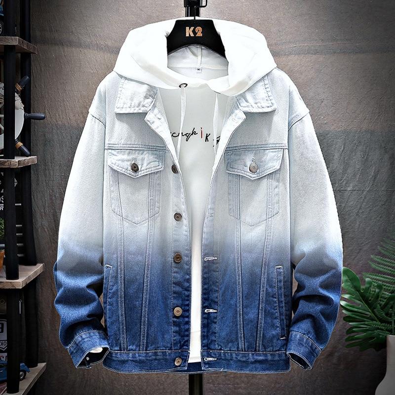 Men's denim jacket 2020 spring autumn Casual loose denim hooded Gradient hip hop teenagers student clothes Camouflage Coat men