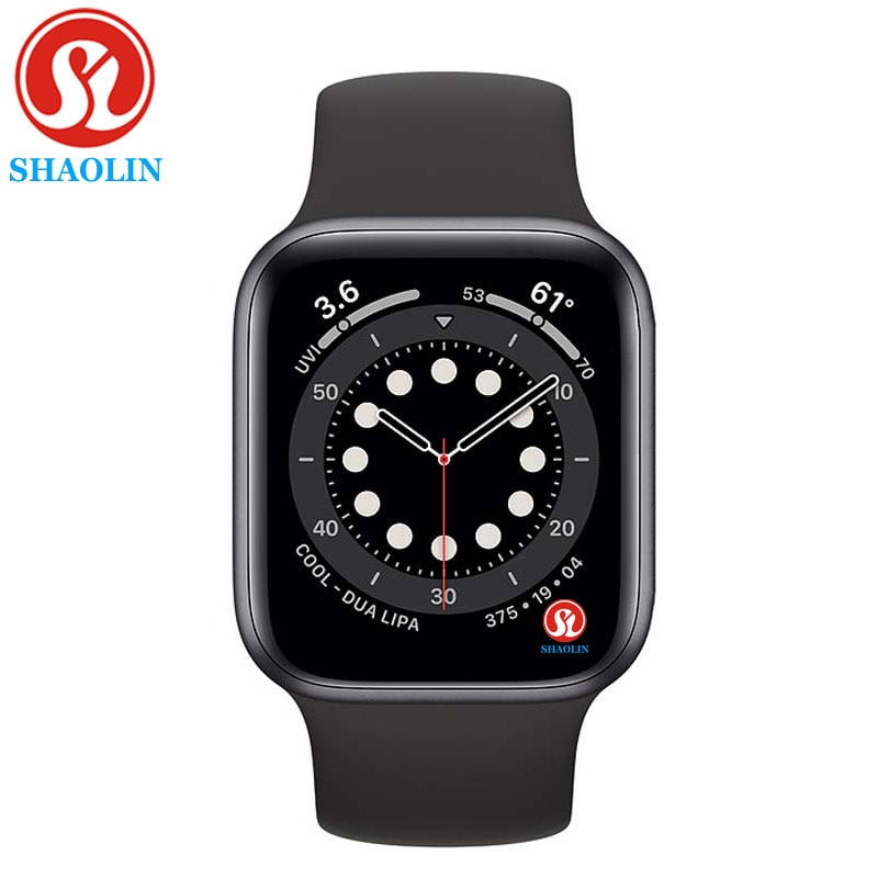 SHAOLIN Original Smart Watch Series 6 Wearable Devices Sync Notifier for Apple Watch Android Bluetooth Smartwatch (Red Button)