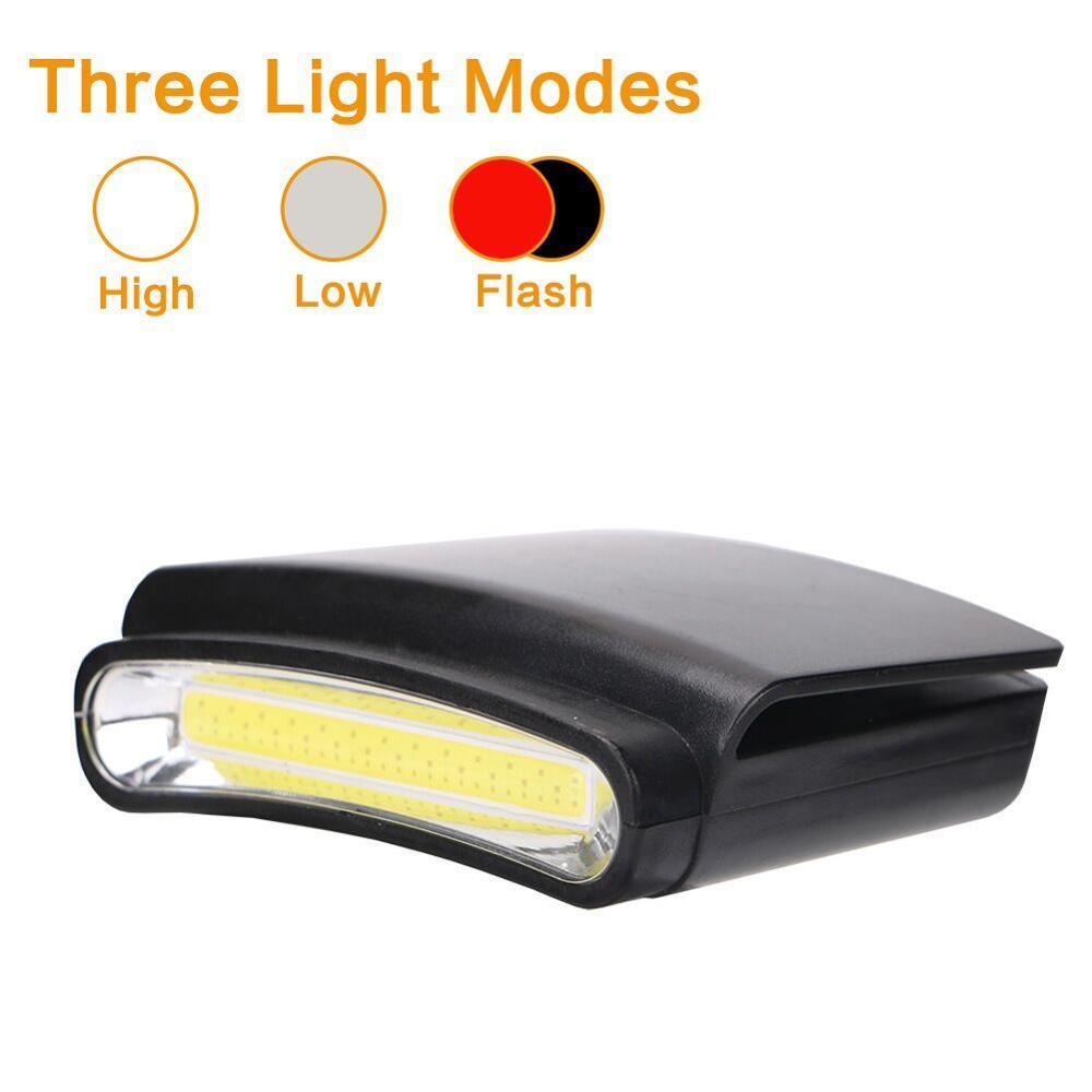 Налобный фонарь с клипсой, светодиодный фонарь с COB матрицей, на батарейках, для бейсболки, бейсболки, бейсболки