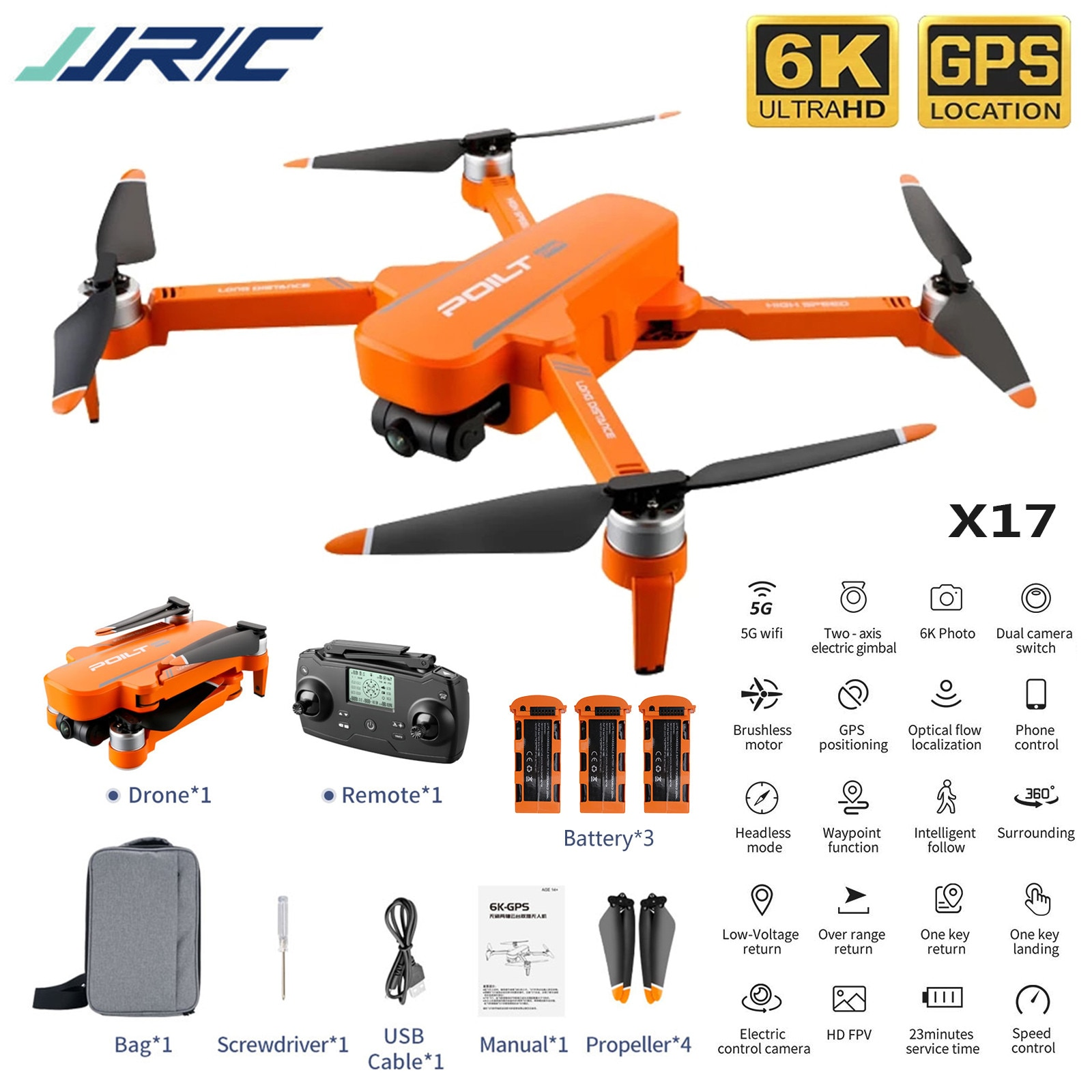 Jjr/c X17 6k-gps Brushless Two-axis Gimbal Dual Camera Drone 1km Long-distance 30min Professional Drone 5g Foldable Quadcopter