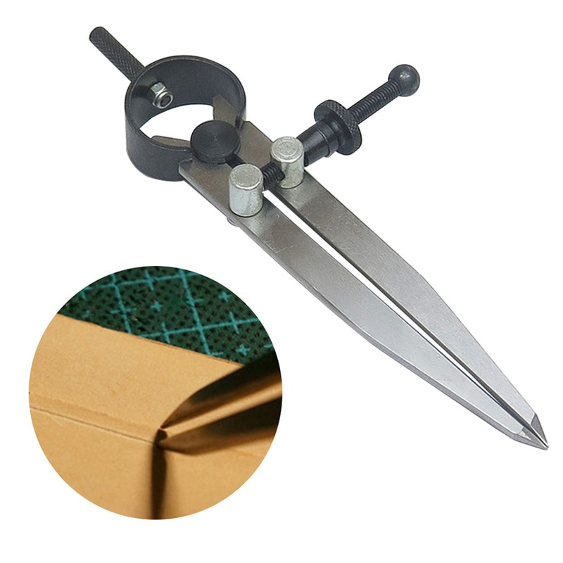 1PC Scriber Divider Wheel Carbon Steel Compass Leather Stitch Hole Distance Measure Compass Leather Divider Tool Rotary Cutter adjustable leather compass lockable carbon steel divider wing creaser diy gauge