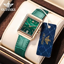 OUPINKE Simplicity Watches Quartz Roman Numerals Leather Strap Green Dial Classic Casual Business Dr