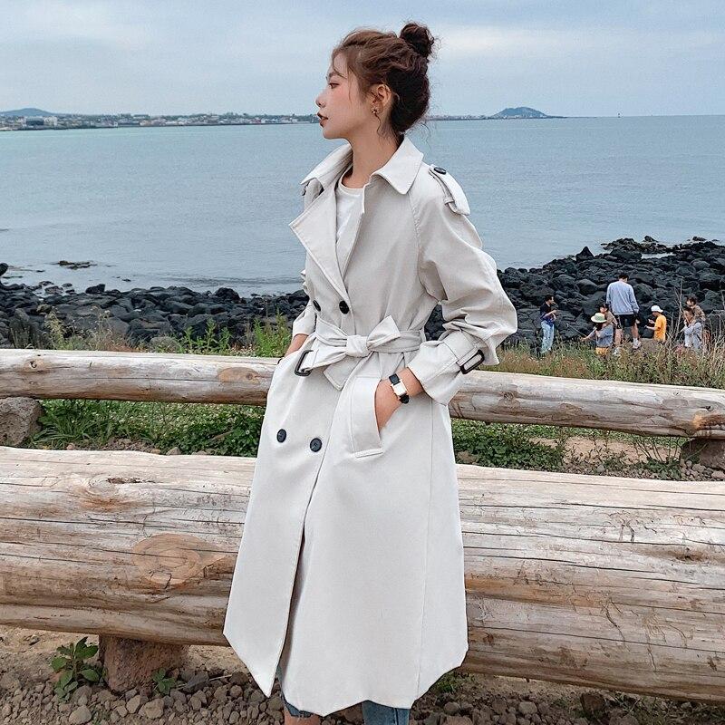 موضة جديدة مزدوجة الصدر المرأة خندق معطف طويل مربوط ضئيلة سيدة منفضة معطف عباءة الإناث ملابس خارجية الربيع الخريف الملابس