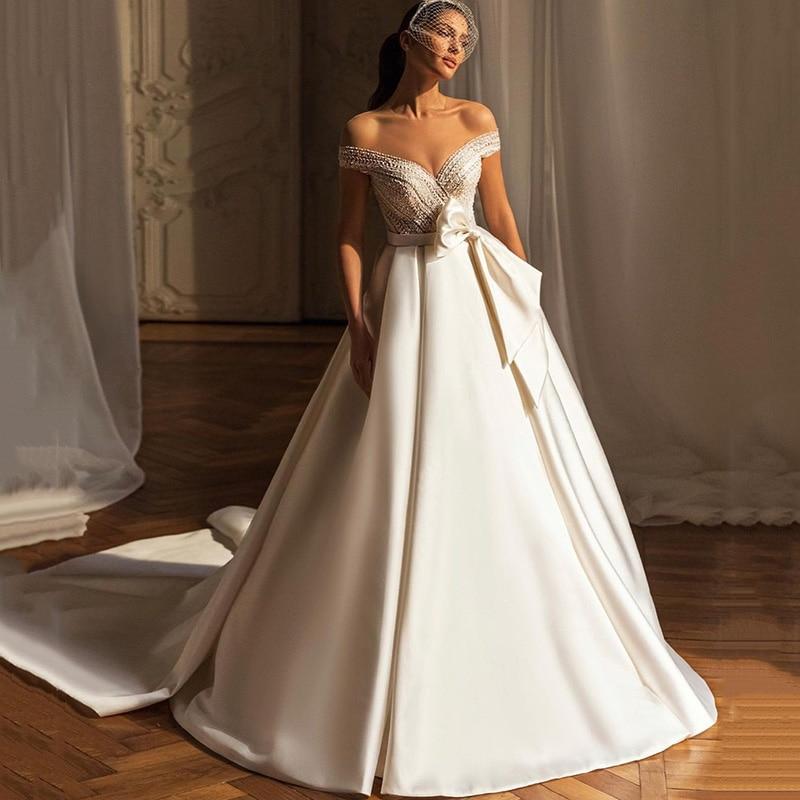 Eightree Vestido de Noiva 2021 Ivory Satin Vintage Wedding Dresses O Neck Cap Sleeve Bride Dress Beads Bow Wedding Gowns