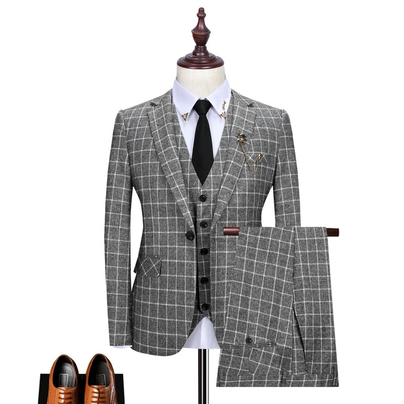Blazer + Colete + Calças Marca de Moda Vestido de Casamento High-end Xadrez Masculino Formal Negócio Terno 3pec Noivo Smoking Casual