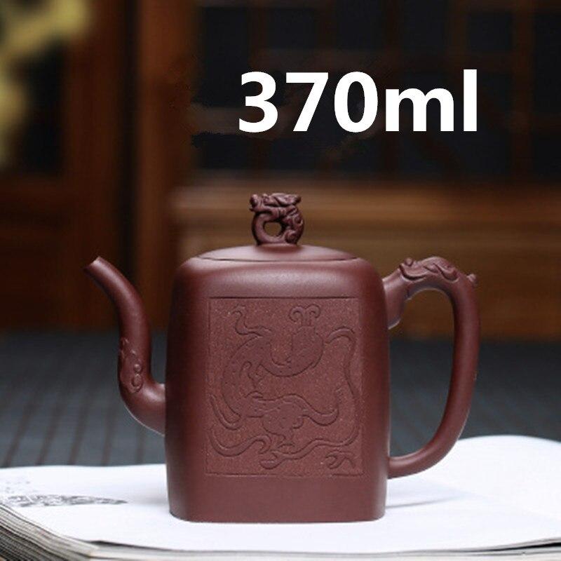 Tetera-إبريق شاي Yixing Zisha من الخزف الصيني Gongfu ، طقم شاي 370 مللي ، أواني يدوية شهيرة مع صندوق هدايا