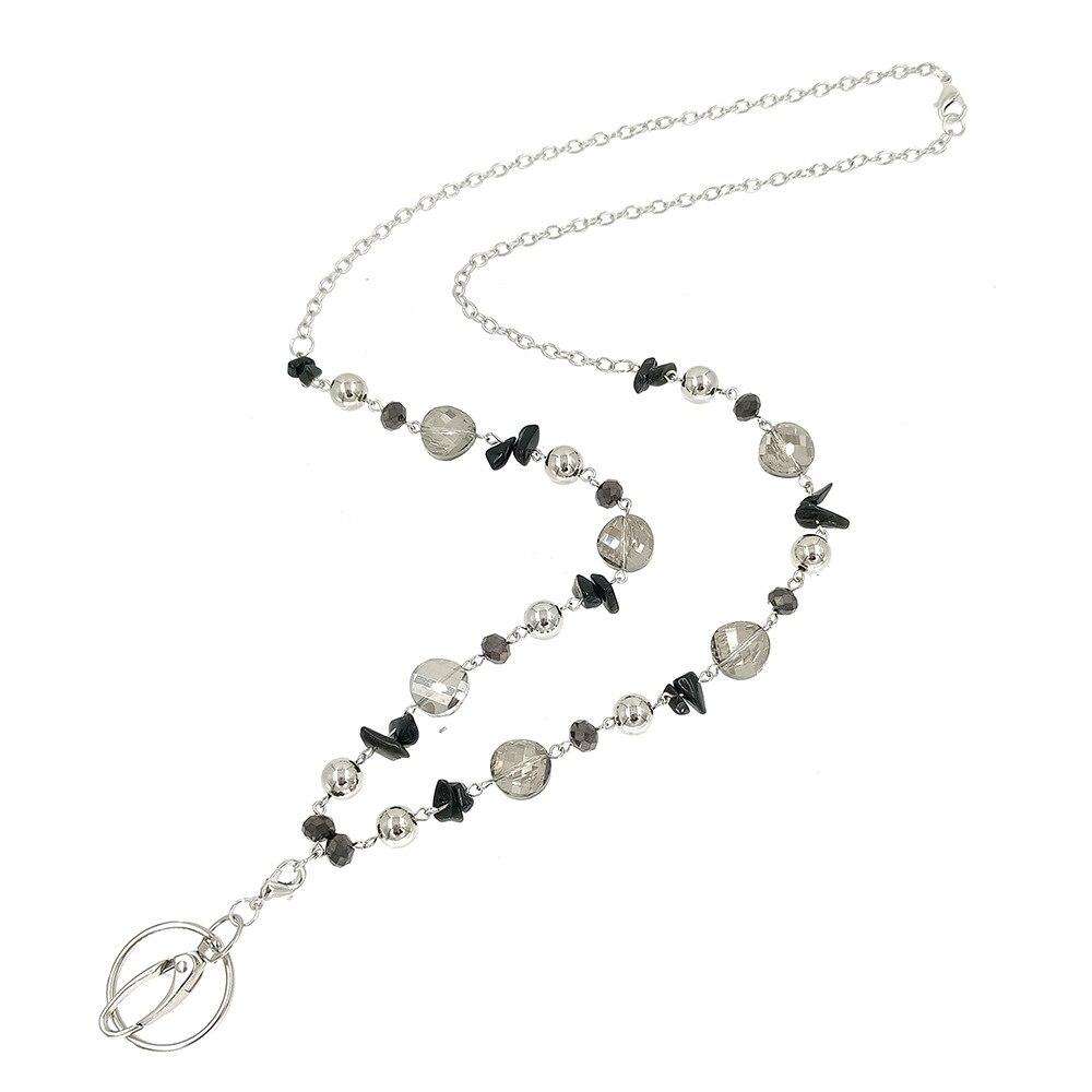 Черные стеклянные бусины, брелки, держатель, модное ожерелье, ремешки с ID-держателем, брелок для учителей, медсестер, матерей, подарки