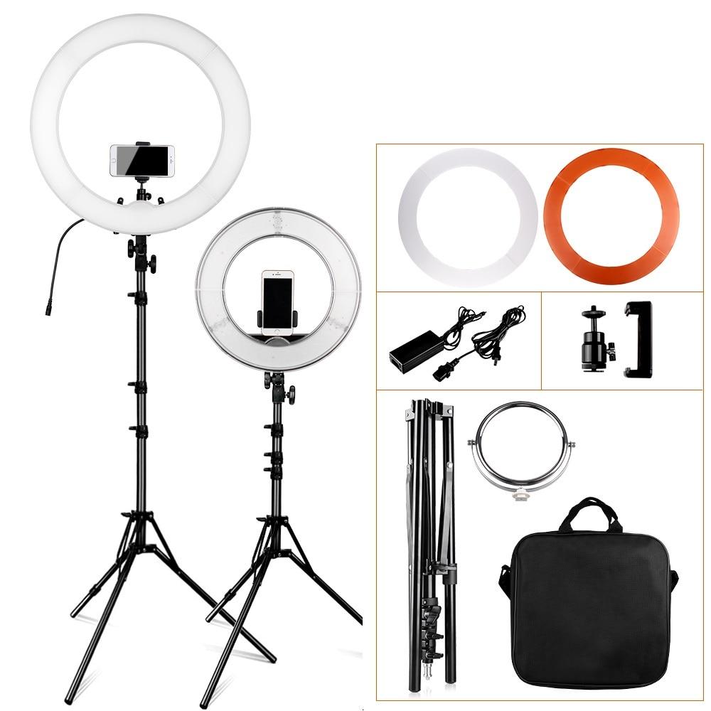 """Travor 12 """"18"""" Anillo lámpara fotografía regulable LED anillo luz profesional anillo luz para vídeo maquillaje YouTube con bolsa de transporte"""