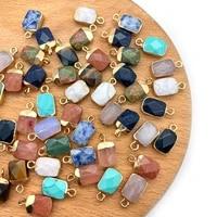 5pcspack rectangular section stone charms natural semi precious stone pendants amethyst rose quartz diy for making necklace