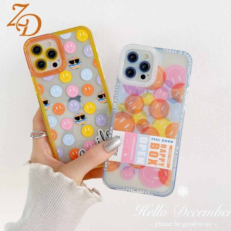 Transparent Mobile Phone Case For iPhone 13 12 11 Pro Max X XS Max XR 7 8 Plus SE2020 Colorful smile