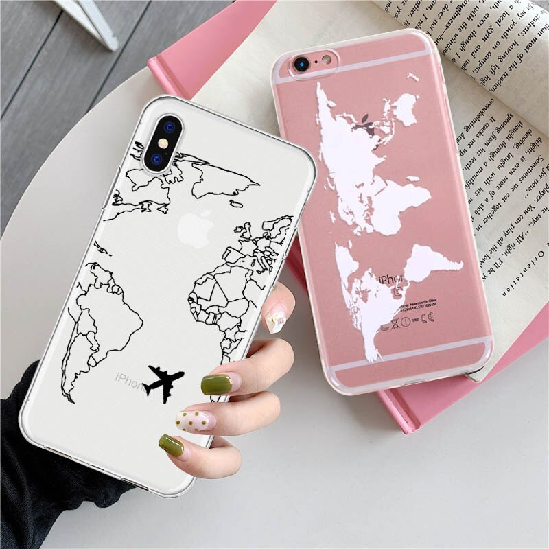 Funda de móvil transparente LAUGH LIFE Trip para iPhone XR XS Max X XS, funda de lujo de Tpu suave de viaje con mapa del mundo para iPhone 6 7p 8p