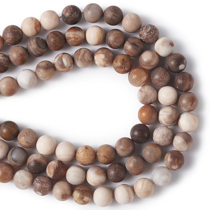"""Cuentas esmeriladas redondas sueltas de madera Natural petrificada 4mm 6mm 8mm 10mm para la fabricación de joyas collar de pulsera agujero DIY 1mm 15,3"""""""