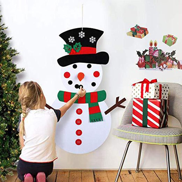 Navidad DIY fieltro muñeco de nieve niños fieltro vacaciones juego desmontable pared colgante decoración TSH Shop
