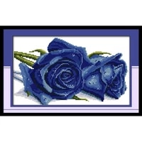 joy sunday cross stitch rose lover painting counted printed on canvas11ct 14ct diy embroidery needlework dms cross stitch kit