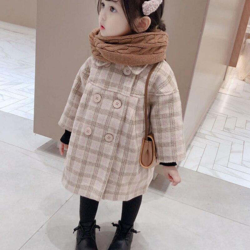 Шерстяная куртка для маленьких девочек клетчатое длинное двубортное теплое твидовое пальто с отворотом для малышей Верхняя одежда для малышей на весну, осень и зиму-5