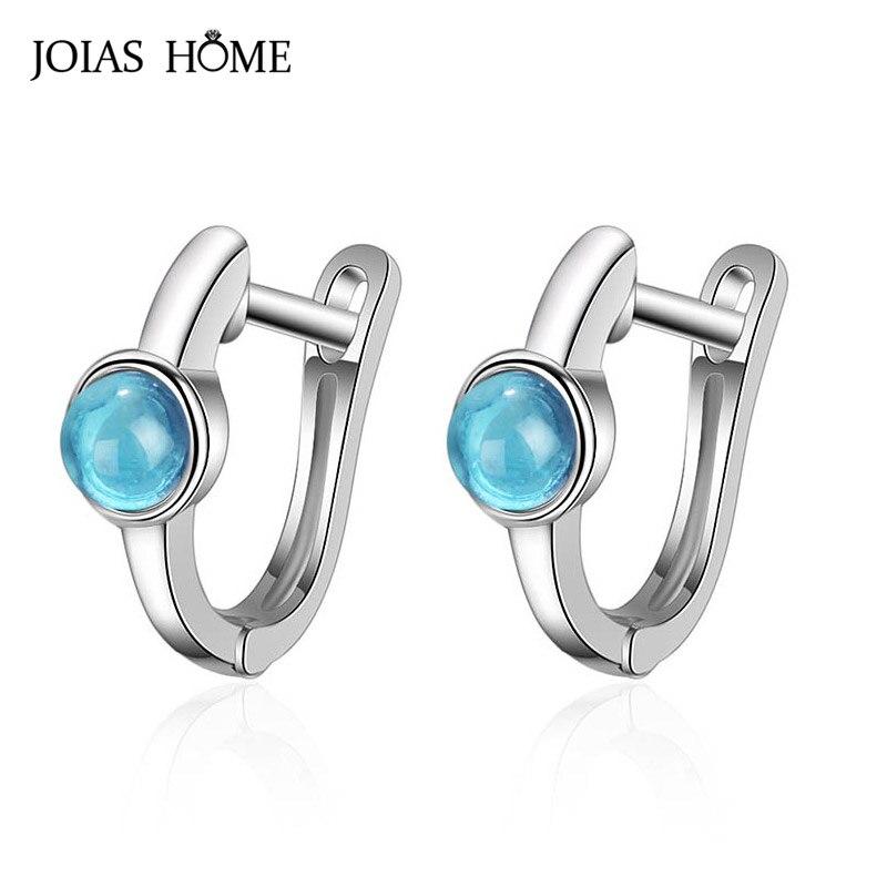 Pendientes redondos de Aguamarina JoiasHome para mujer, joyería de plata 925, piedras preciosas, diseño de moda coreano, gotas para los oídos para niñas, venta al por mayor