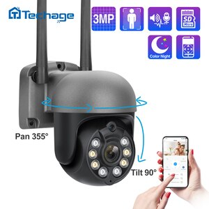 Techage 3MP WIFI IP Camera PTZ Outdoor Dome Wireless AI Security Camera Human Detect Full Color Night Two Way Audio P2P Remote