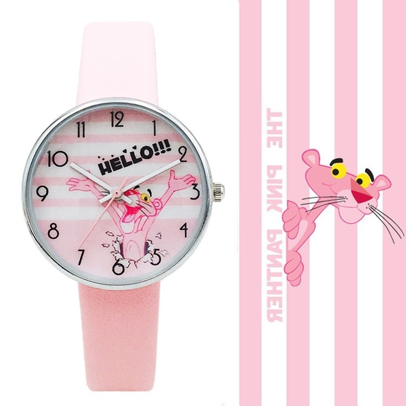 High Quality Fashion Casual Girl Watch Kids Cute Pink Panther Leather Strap Mouse Lovely Children Student Wristwatch big sale girl leather strap watch cute women wristwatch child mickey mouse watches girls fashion time lovely hour new pink kids