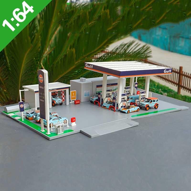 164 escala de liga bay posto de gasolina cena modelo simulação posto de serviço posto de gasolina modelo brinquedo presente acessórios conjunto exibição