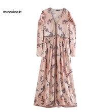 Robe Maxi à imprimé effiloché pour femmes, tenue Chic à la mode, Vintage, col en V, manches longues et ballons, C103, 2021