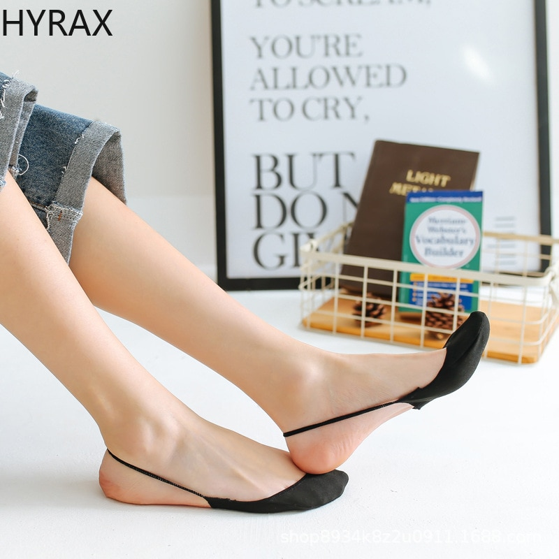 HYRAX Ladies Boat Socks Sling Half Foot Socks Invisible Non-slip Shallow Mouth Socks Thin High Heels