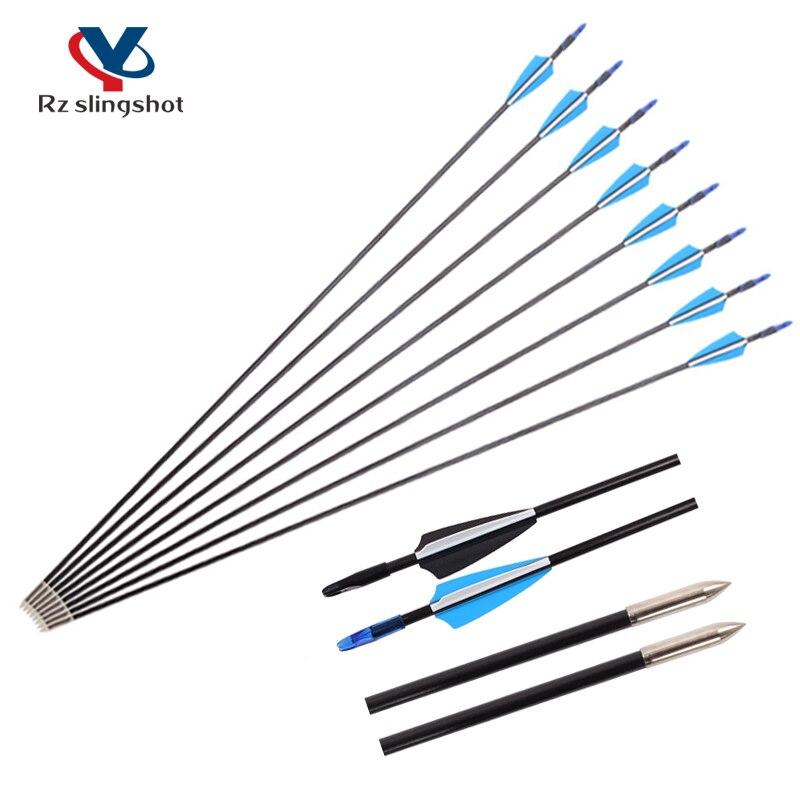 6pcs Diameter 6mm Hunting Fiberglass Arrows 31inch Black and Blue for Recurve Bows Archery