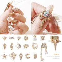 fashion 3d zircon nail art jewelry japanese alloy nail rhinestones diamonds metal chains decorations charm crystal ornaments