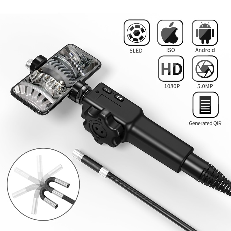 Get 5.5MM/8.5MM 5.0MP 180 Degree Steering Industrial Borescope Endoscope Cars Inspection Camera With 6 LED for iPhone Android PC