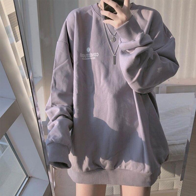 Hoodies Women Simple Letter Korean Long Sleeve Spring Thin Chic Purple Harajuku Femme Pullovers Oversized Black Girl Streetwear