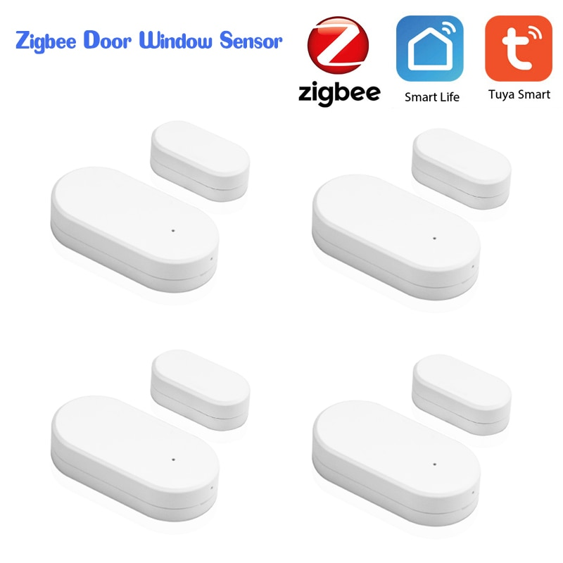 Tuya Zigbee Door Window Sensor Small Smart Home Mini Magnetic Garage Door Opening Sensor System Alarm Gate Open / Close Detector
