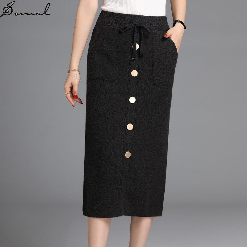 SOMAL mujeres Single Breasted Knitted Straight Skirt con bolsillos en la parte delantera Otoño Invierno señoras Back Slit Midi faldas con encaje Up