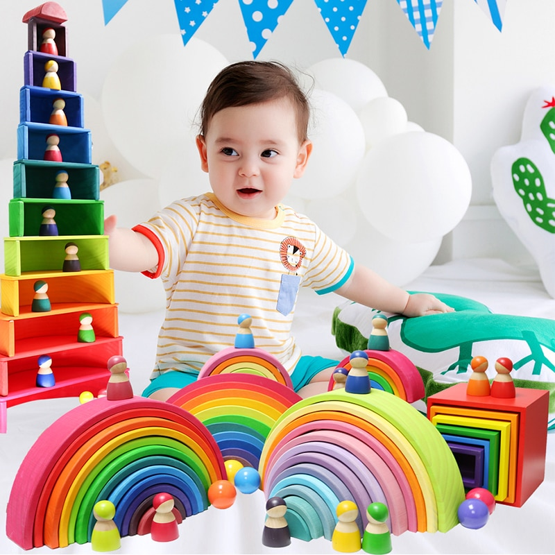 Деревянные строительные блоки Монтессори, обучающая игрушка для детей, радужные деревянные блоки для маленьких детей, обучающая игрушка дл...