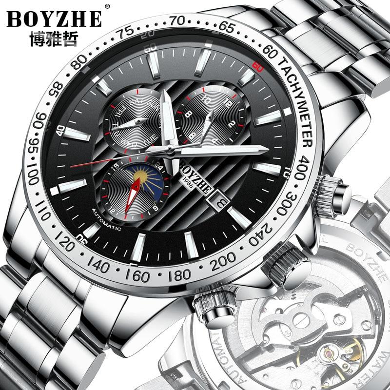 316 Steel Automatic Mechanical Watch Men Sports Watch Calendar Luminous Man Watches Luxury Waterproof Clock Month 24 Hours Table