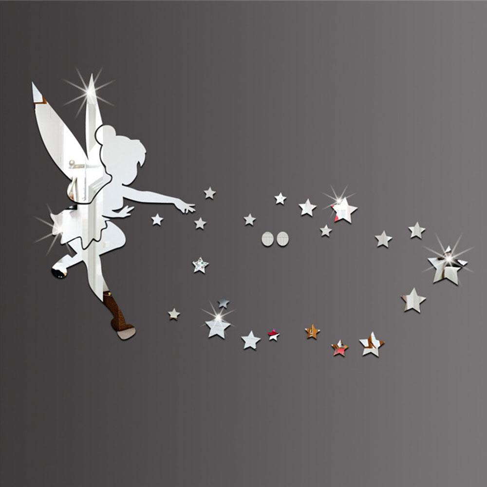3D Spiegel Wand Aufkleber Kleine Fee Prinzessin Sterne Wand Aufkleber Fliegen Magie Fee Spiegel Aufkleber für Kinder Zimmer Dekoration