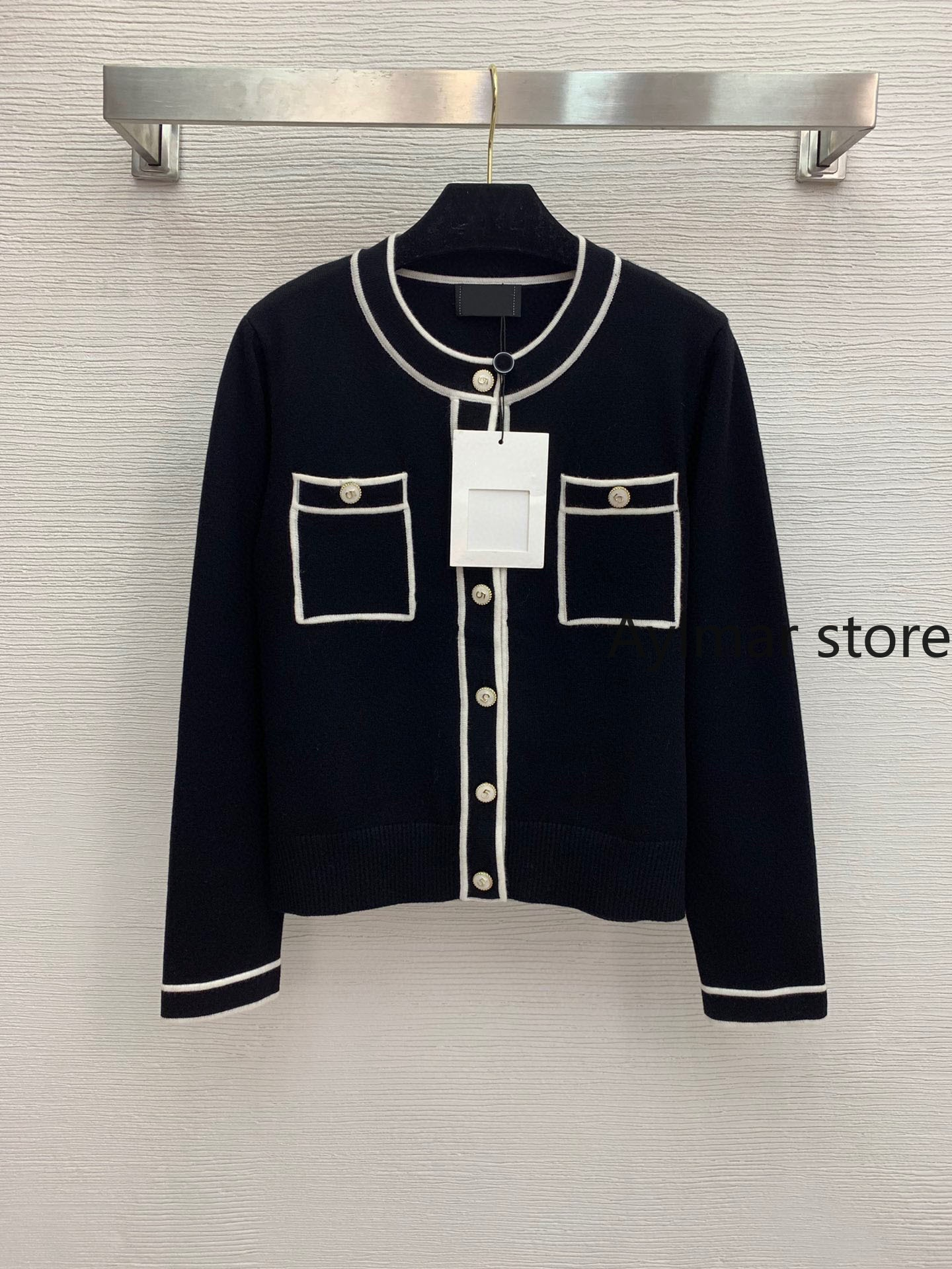 High quality 2021 autumn winter new women 5-button round neck knitted cardigan long sleeve short coat pink cardigan  cardigans enlarge