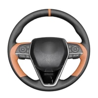 hand stitched black pu artificial leather car steering wheel cover for toyota rav4 corolla avalon 2019 2020 camry 2018 2020