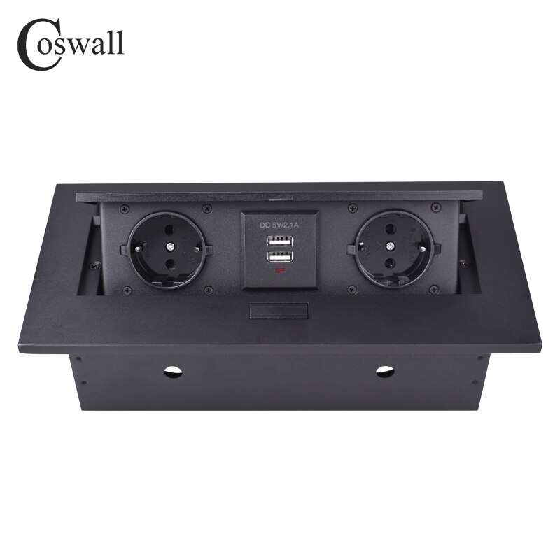 Cosmall Placa de aleación de Zinc 16A Slow POP UP 2 Power EU enchufe doble puerto de carga USB 2.1A mesa de oficina salida mate negro ángulo recto