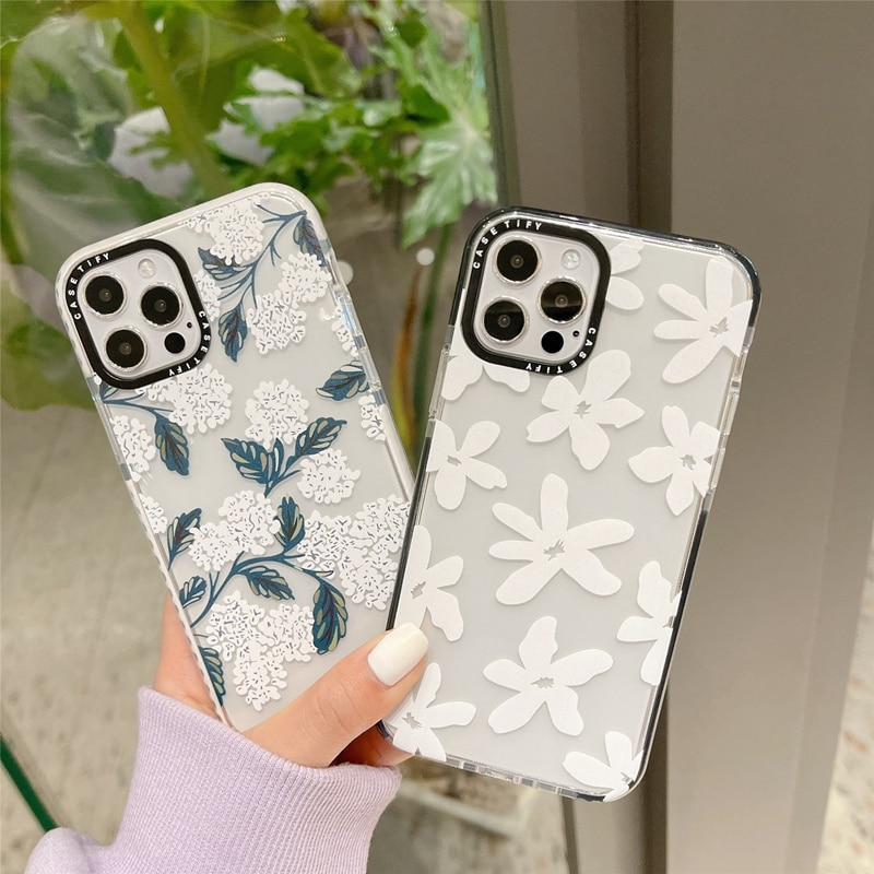 Модный прозрачный мягкий чехол для телефона с белыми цветами для iPhone 12 Mini 11 Pro Max SE 2020 7 8 Plus X XR XS Max, роскошный брендовый чехол