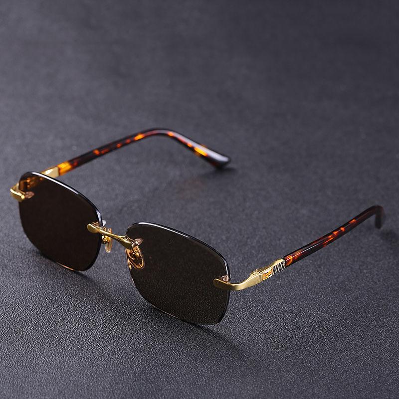 Evove-نظارة شمسية من الزجاج البني والأحجار للرجال ، مضادة للخدش ، ذهبية ، فاخرة ، عصرية