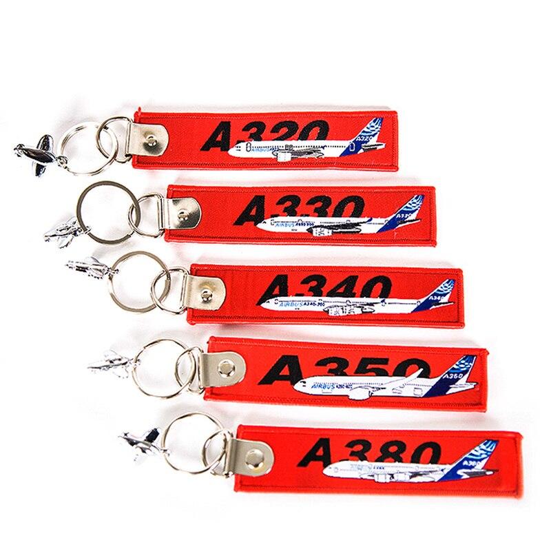 Airbus A320 A330 A340 A350 A380 Avión de cola bordada equipaje de viaje etiqueta mejor regalo para el llavero de aviación de la tripulación de vuelo