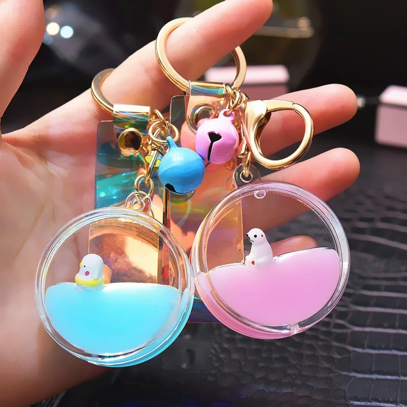 Korean Cute Moving Liquid keychain car Fruit Quicksand Bottle Keychains bag keyring keychain women trinket lovely rope