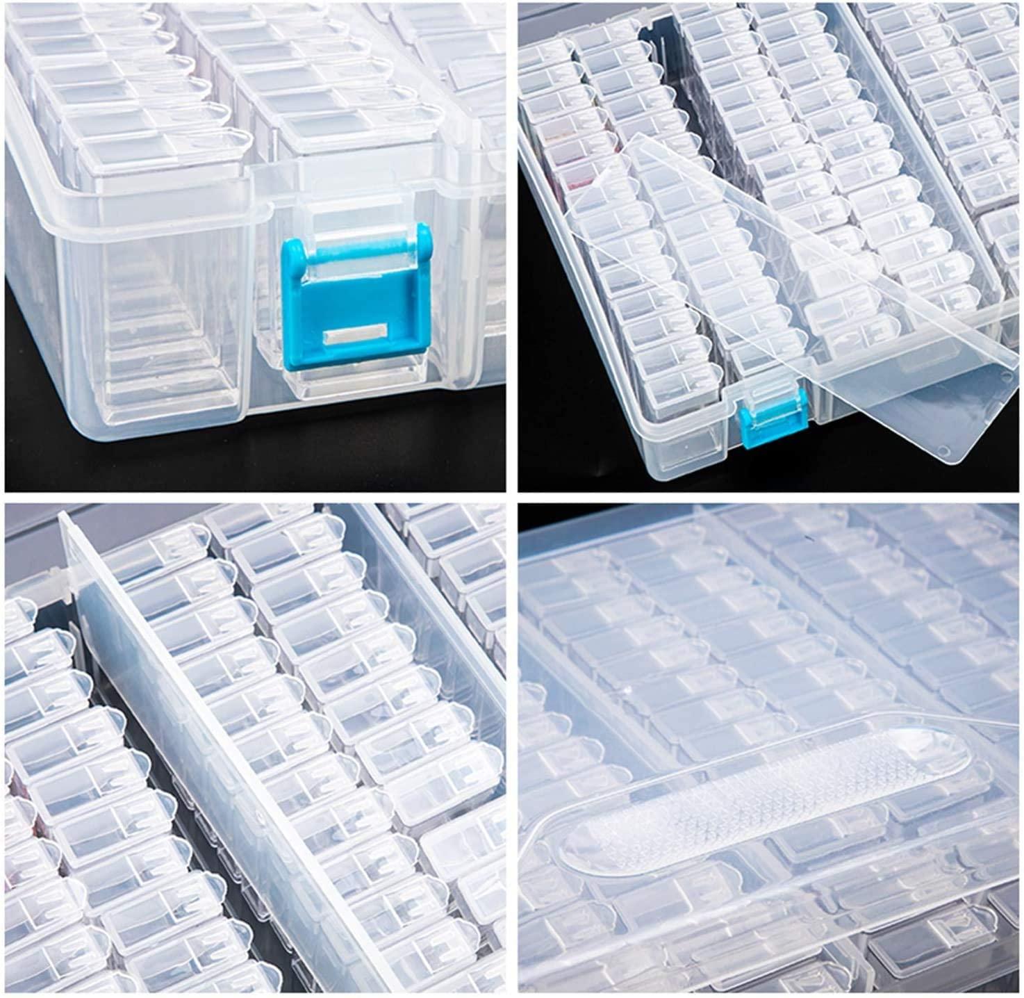 Plastic Container Storage Box Diamond Painting Accessories 64 pcs Bottles Diamant Painting Box Holder jewelry rectangle Box Case
