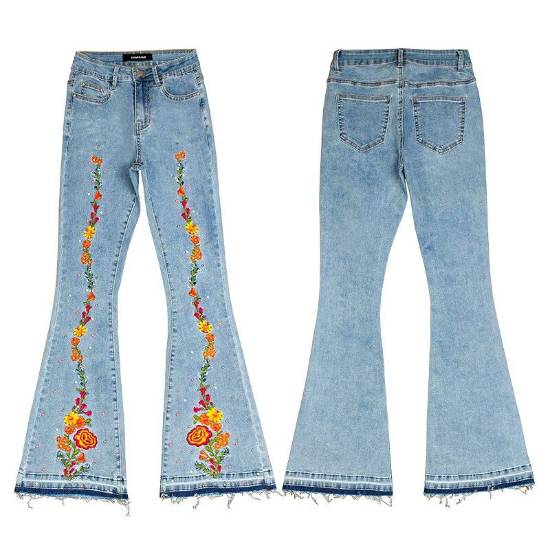 DSQBRAND Women's Jeans Flared Pants Light Blue Three-dimensional 3D Embroidery Women's Rivet Denim Pants Women's High Quality