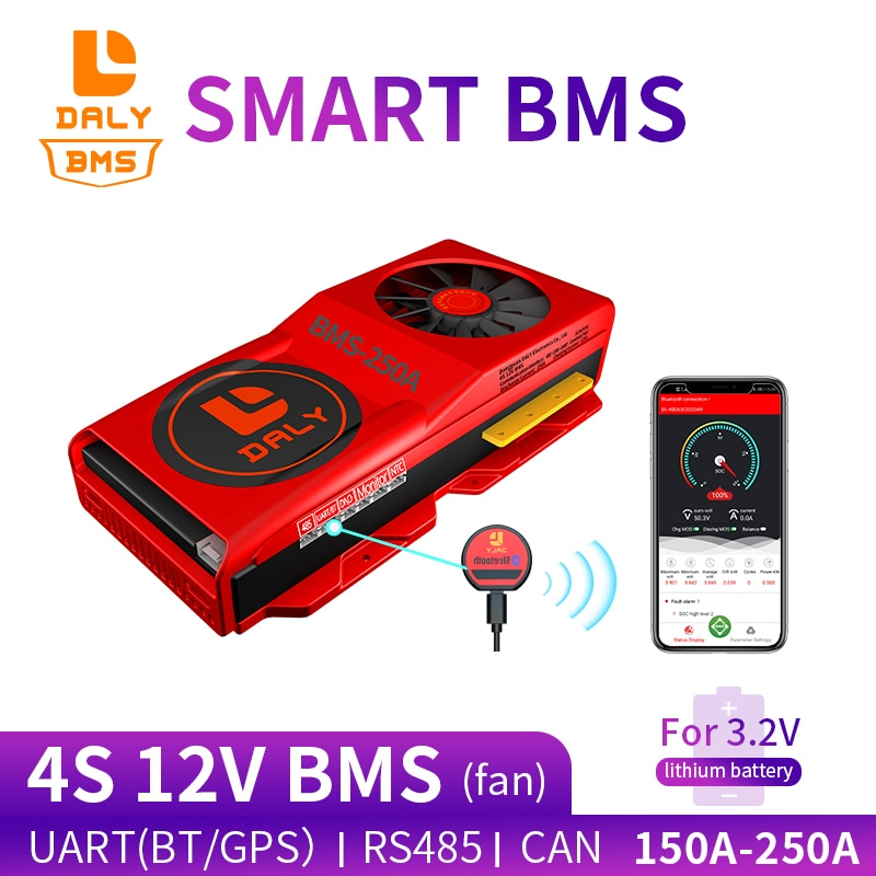 18650 smart LiFePO4 4S BMS 12V 150A 200A 250A Bluetooth 485 to USB device NTC UART togther Lion LiFePO4 LTO Batteries With Fan
