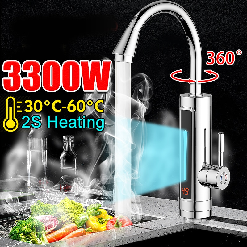 3300W Instant Electric Faucet 220V Hot Water Heater Stainless Steel LED Ambient Light Temperature Display Tap Bathroom Kitchen
