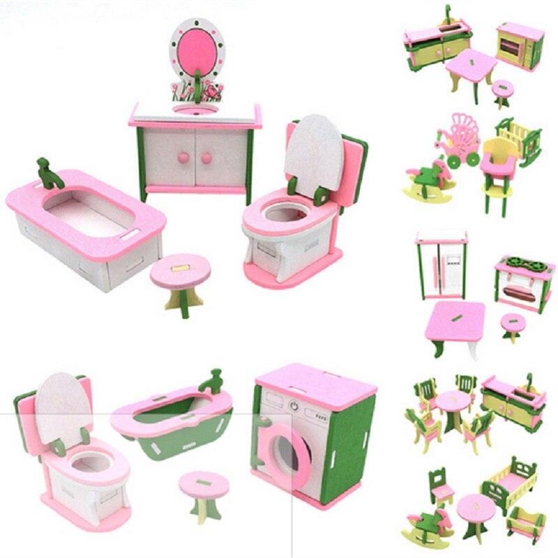 Кукольный домик, мебель, двойная кровать с подушками и одеялом, деревянная кукольная мебель для ванной, миниатюрный кукольный домик, детска...