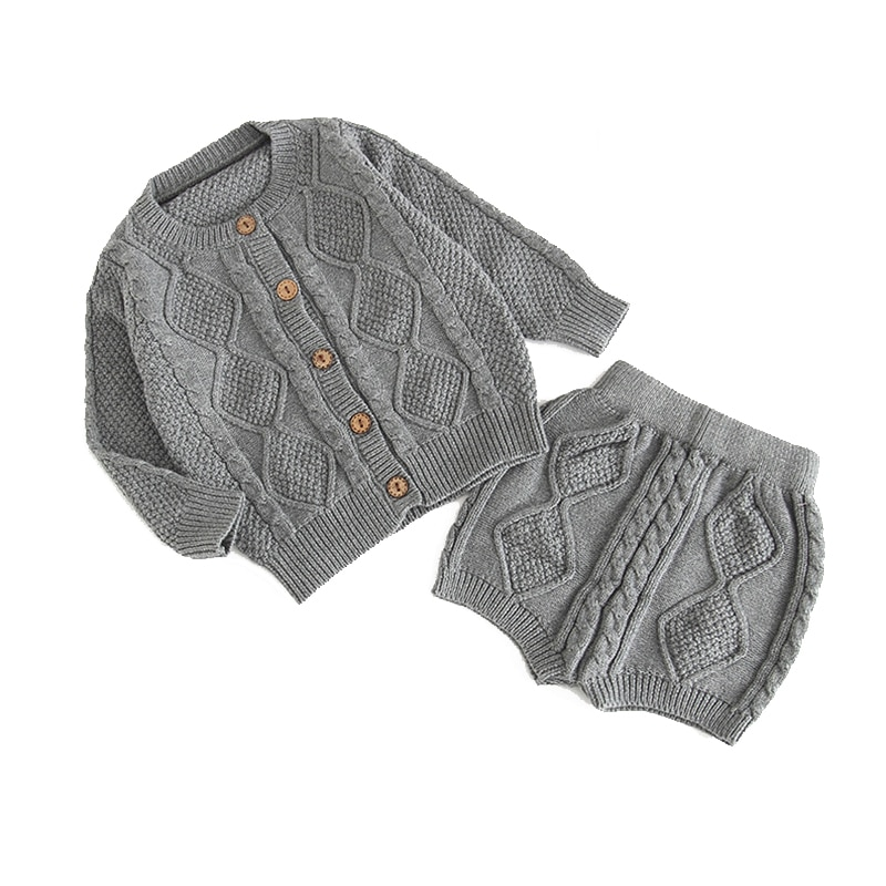 1 set 0-2 Years Old Baby Sweater with Shorts Child Autumn Winter Sweater Cardigan Jacket For Baby Boys Girls Clothes
