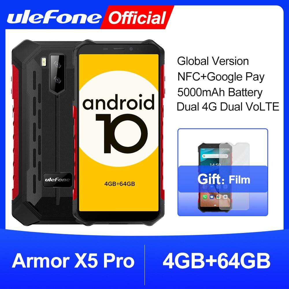 Ulefone درع X5 برو وعرة مقاوم للماء الهاتف الذكي 4GB + 64GB أندرويد 10.0 هاتف محمول NFC 4G LTE الهاتف المحمول
