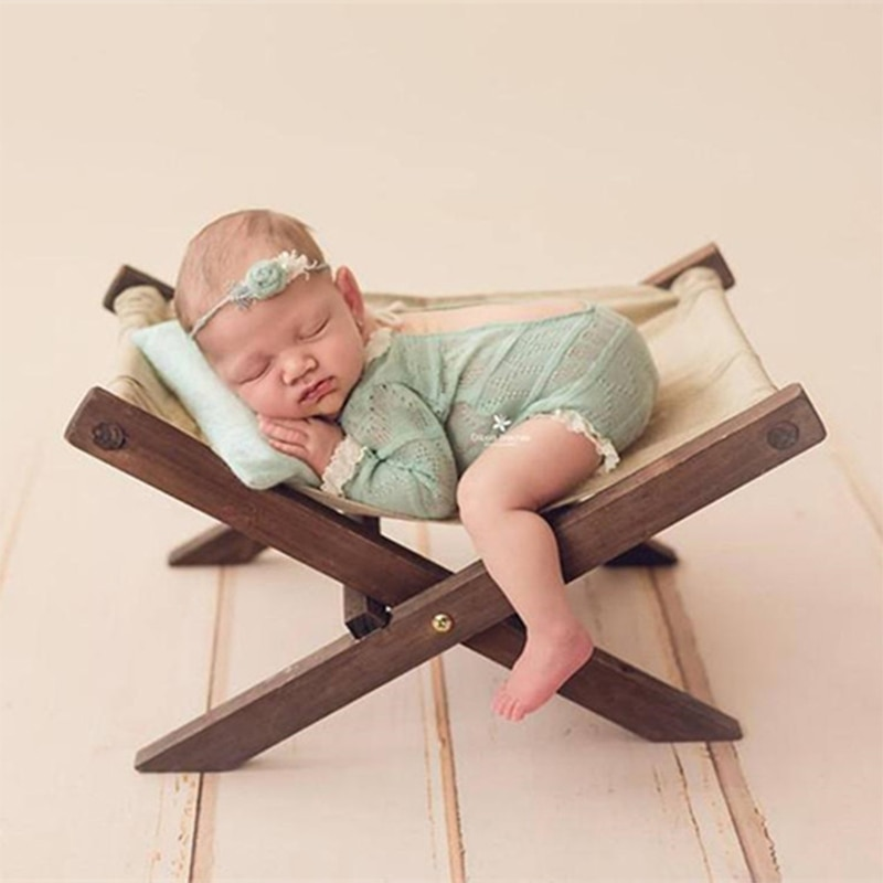 Newborn Photography Props Wooden Bed Solid Wood Shooting Photo Removable Prop Assembly For Full Moon Hundred Days Baby