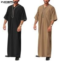incerun men vintage half sleeve muslim kaftan robes leisure v neck printed jubba thobe solid patchwork arabic clothes plus size7